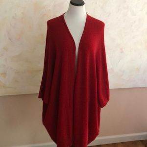 NEIMAN MARCUS red cashmere cape/sleeved sweater OS